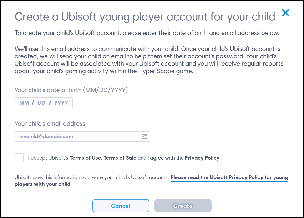 DOB and email required to create a young player account