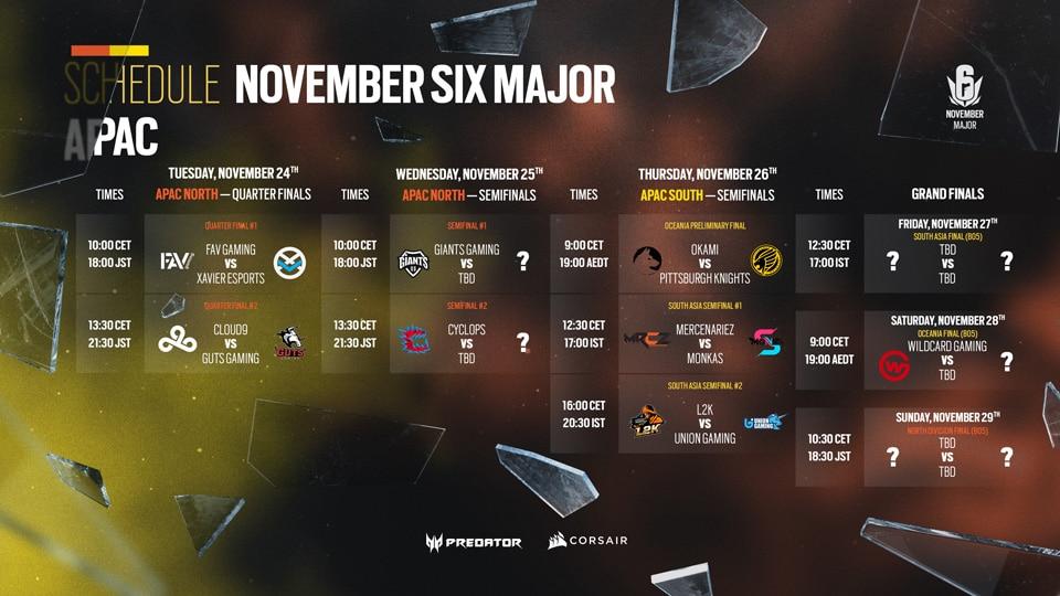 Global Schedule Major APAC