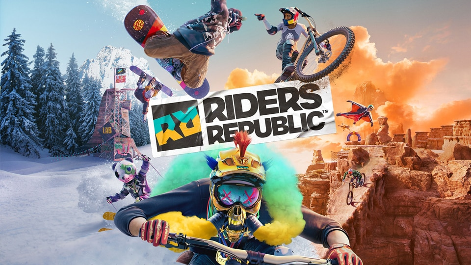 The box art for the new Ubisoft title Riders Republic. The logo separates a snow covered mountain from a desert like canyon where various riders race down and perform tricks in mid-air with unique gear and outfits.
