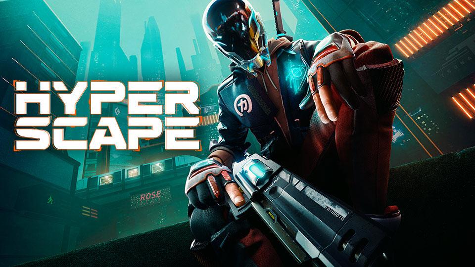 Ilustração promocional de Hyper Scape, mostrando personagem armado com armas futuristas