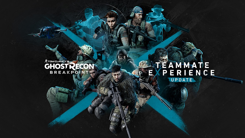 Ghost Recon Breakpoint printed on the left center with Teammate Experience Update printed on the right center.  Nomad and AI teammates spaced around a blue X dividing the screen