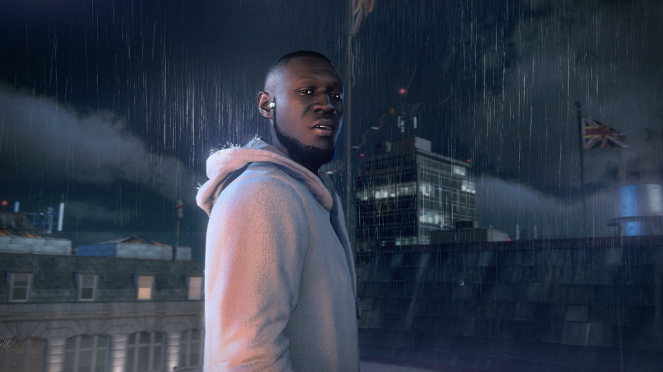 Stormzy in game standing in the rain