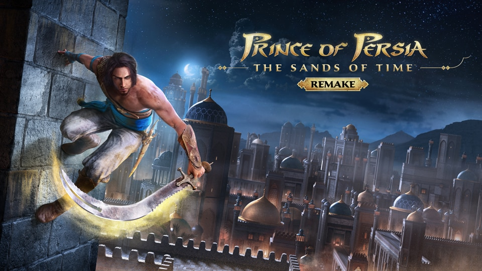 Prince of Persia The sands of time keyart: hero parkouring on wall