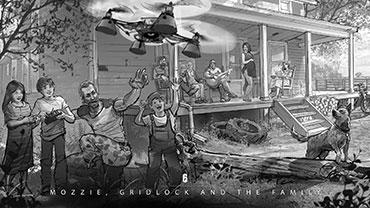"""""""Man beachte die majestätische Drohne in ihrem natürlichen Lebensraum, wie sie durch die Büsche und das Gestrüpp streift und nach Störenfrieden sucht, die nicht das tun, was Onkel Mozzie ihnen sagt!"""""""