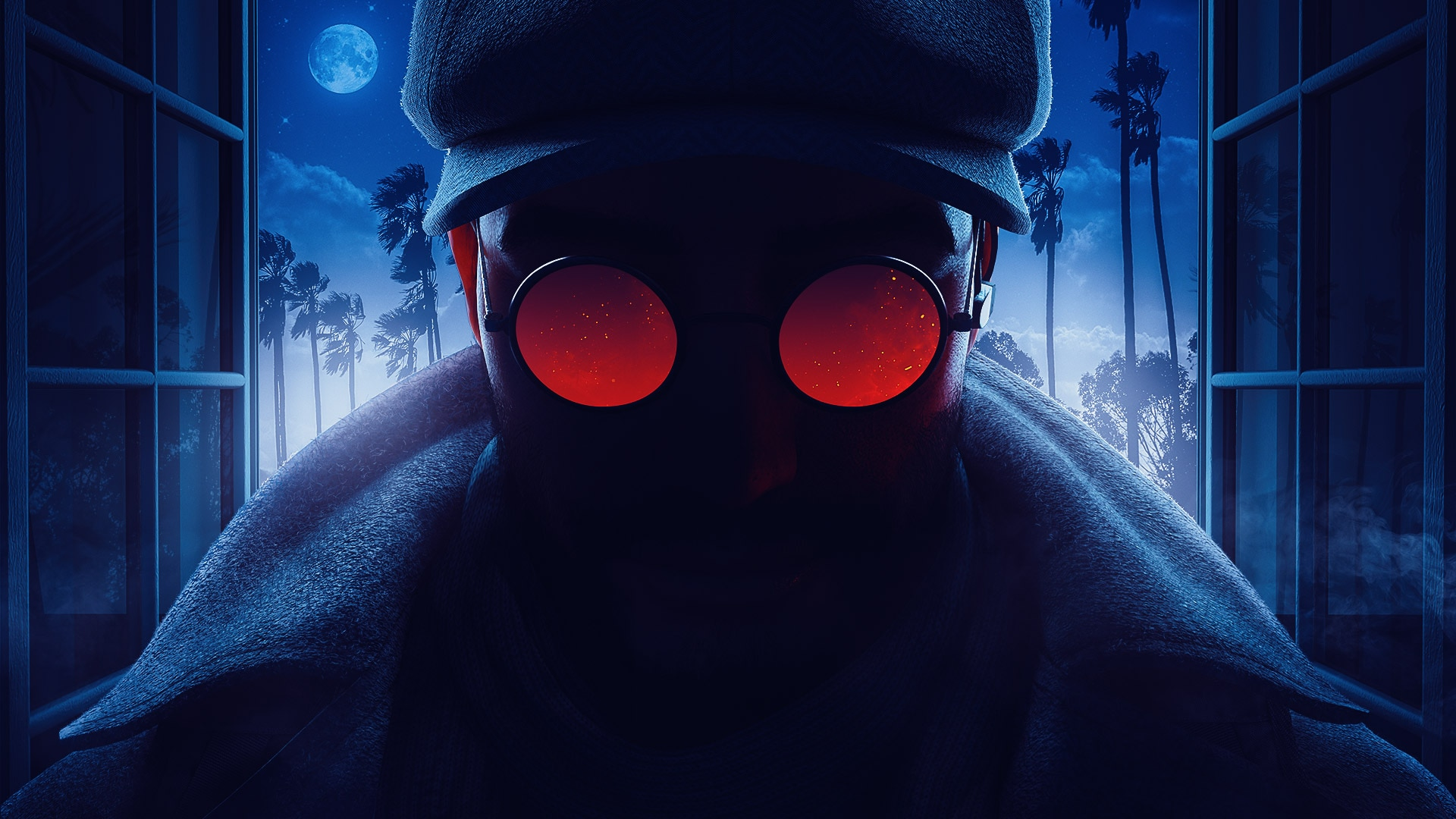 Operation Crimson Heist keyart image close up of new Operator Flores shadowed in darkness with glowing red glasses